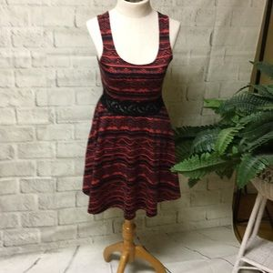 bailey blue fit and flare red and black dress